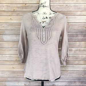 C.Keer {Anthro} Tan 3/4 Sleeve V-Neck Blouse Small